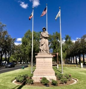 Historic Madonna of the Trail Statue on Euclid Avenue in Upland, CA