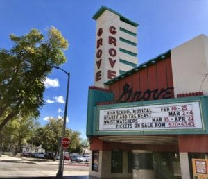 Grove theatre with list of currently playing in Downtown Upland, CA